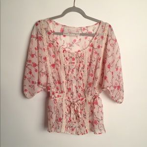Guess roses boho peasant blouse EUC M